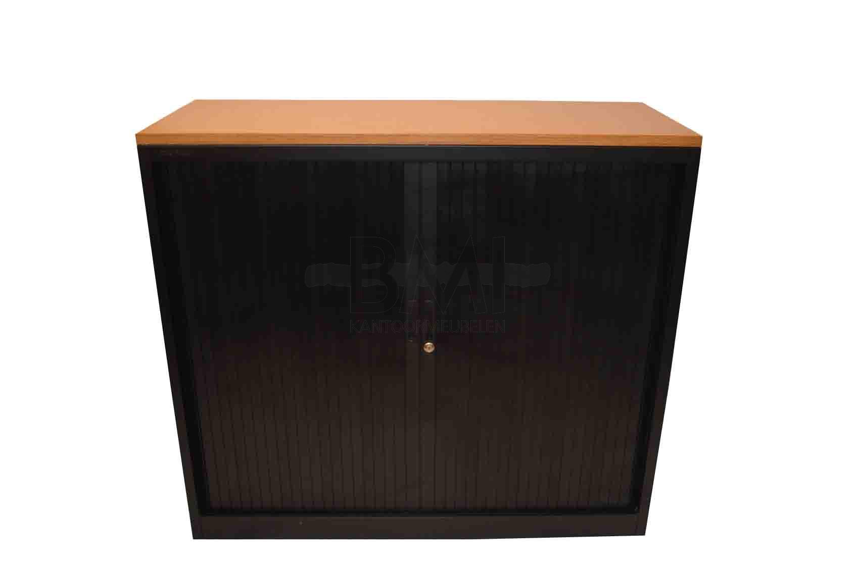 Roldeurkast Inofel 105 x 120 x 45 cm zwart / eiken top