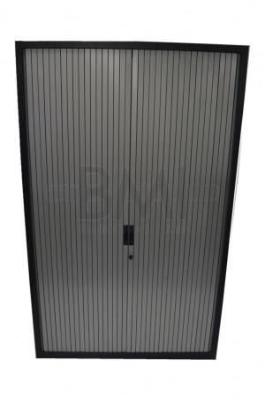 Roldeurkast Aspa 198 x 120 x 45 cm zwart / aluminium